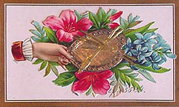 Victorian calling card with hand holding paint palette and brushes