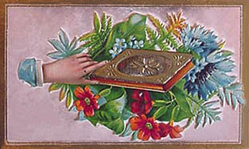 Victorian calling card with hand holding book