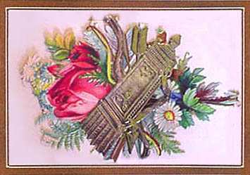 calling card with Victorian purse and pink rose