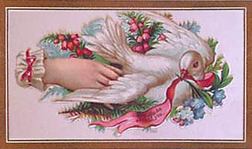 Victorian calling card with hand and white dove
