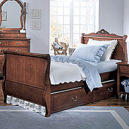 Single Cherry Sleigh Bed