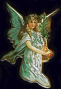angel in green with tree