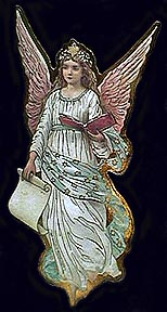 angel in white with book