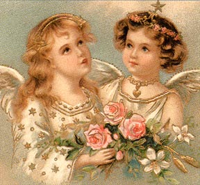 two angel girls with pink flowers
