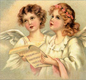 two angel girls singing