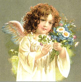 Victorian angel girl holding flowers