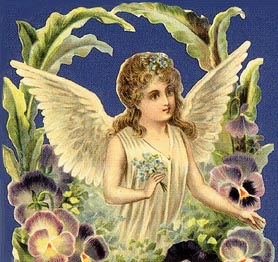 angel surrounded by pansies