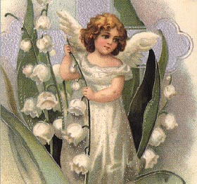 teeny angel with white flowers, white cross