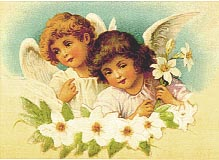 two angel girls and white flowers