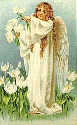 teeny angel girl with white flowers
