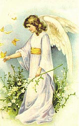 angel lady with yellow butterflies
