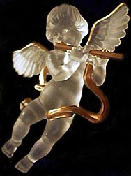 satin glass angel with flute