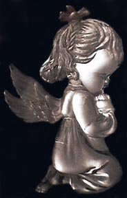 silvery praying angel girl
