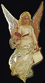 angel in yellow with book