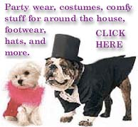 dog coats, sweaters, hats, paw protectors, hats, pajamas, robe, holiday items