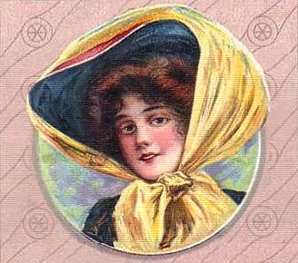 Victorian lady in touring hat