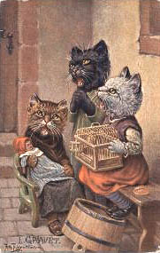 Victorian cats with doll