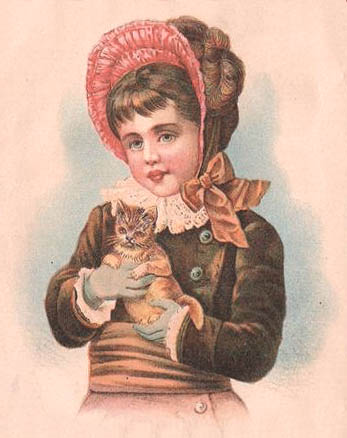 Victorian girl holding cat