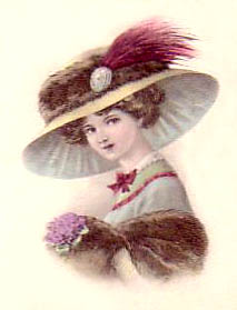Victorian lady with flowers, muff, stole and hat